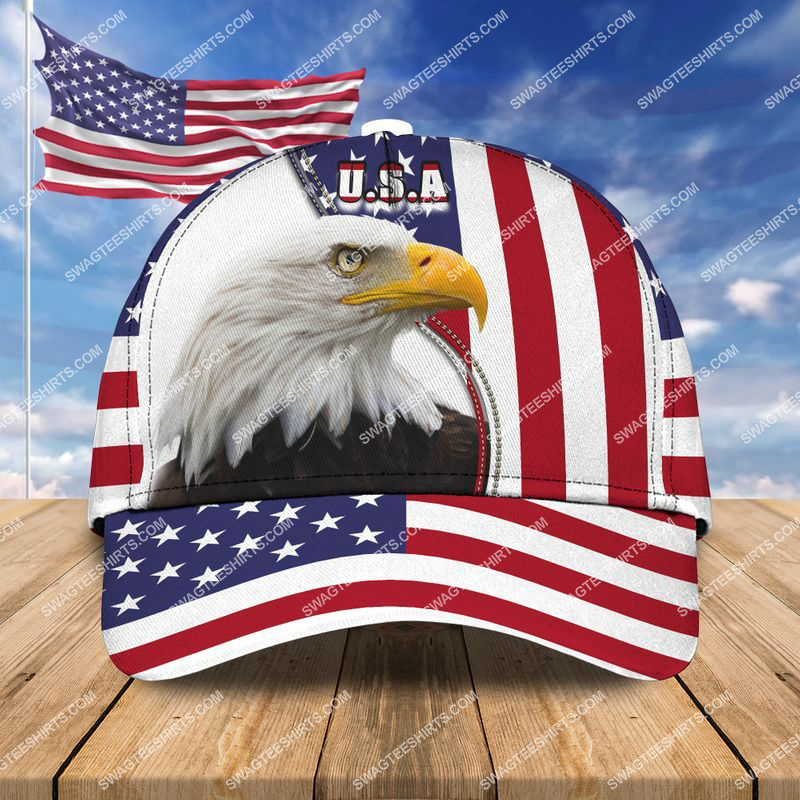 Amazingswagteeshirt]  eagle with american flag all over printed classic cap