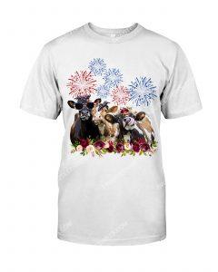 [Amazing mariashirts] floral cows american flag 4th of july shirt