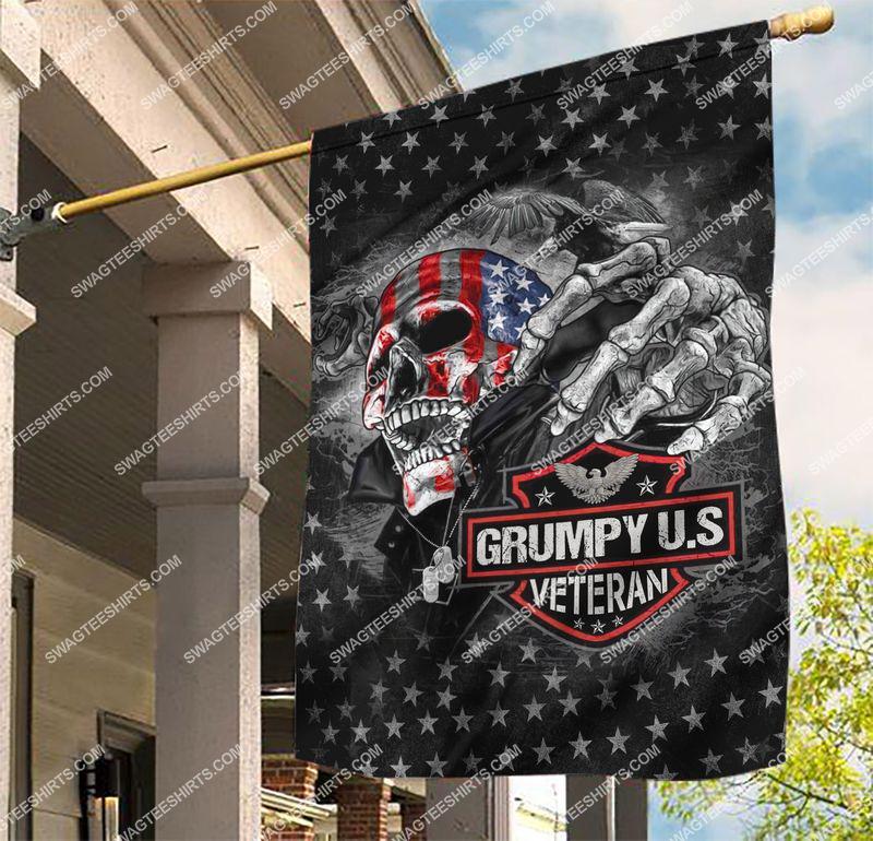 Amazingswagteeshirt]  grumpy usa veteran skull all over printed flag