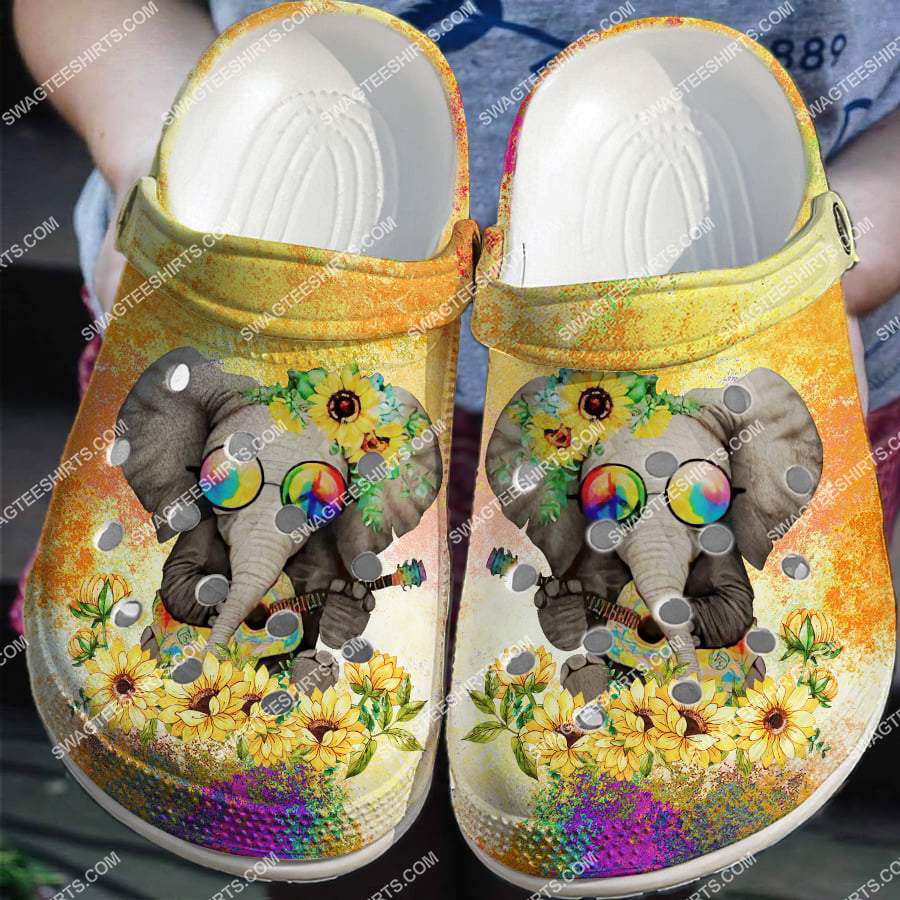 [Amazing fullprintingteeshirt] hippie elephant and sunflower all over printed crocs