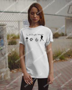 [Amazing mariashirts] i'm a simple woman likes jesus dogs coffee and hiking shirt