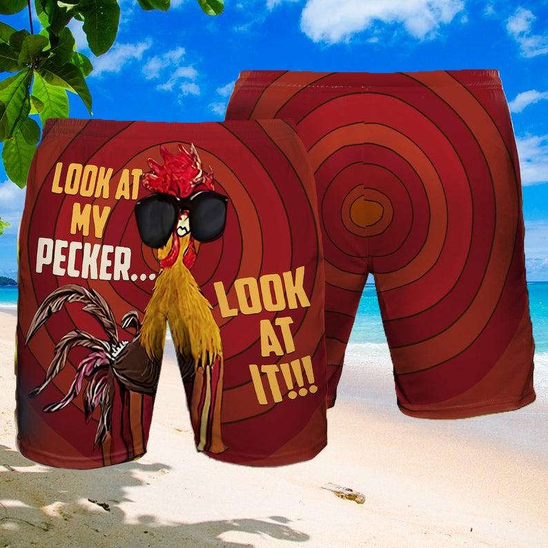 [Amazing swagtshirt] look at my pecker look at it summer beach shorts