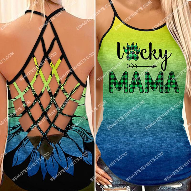 [Amazing fullprintingteeshirt] mothers day lucky mama bear all over printed strappy back tank top