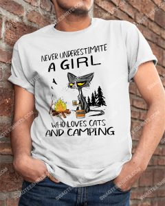 [Amazing mariashirts] never underestimate a girl who loves cats and camping shirt