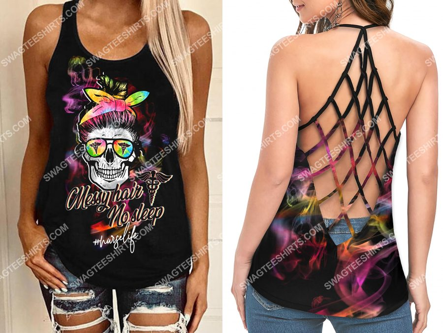 [Amazing owndesignshirt] nurselife messy hair no sleep skull strappy back tank top