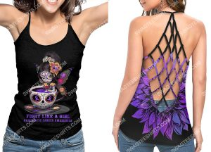 [Amazing owndesignshirt] pancreatic cancer awareness fight like a girl strappy back tank top