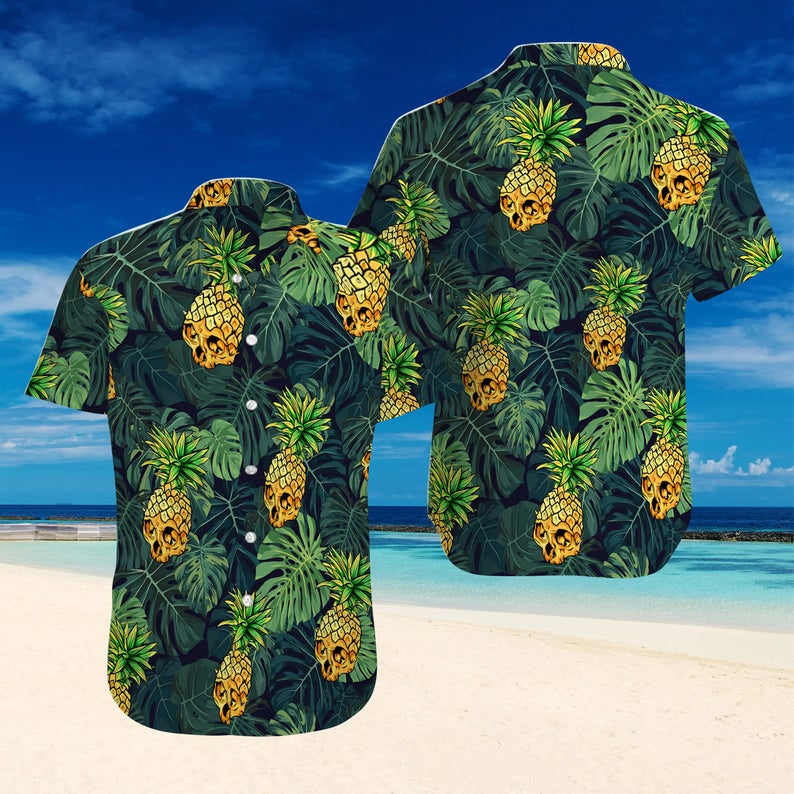 [Amazing swagtshirt] pineapple skull tropical all over print hawaiian shirt