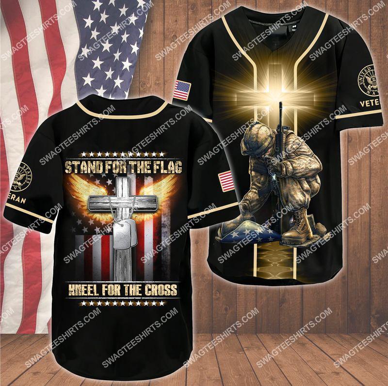 [Amazing owndesignshirt] stand for the flag kneel for the Cross navy veteran baseball shirt