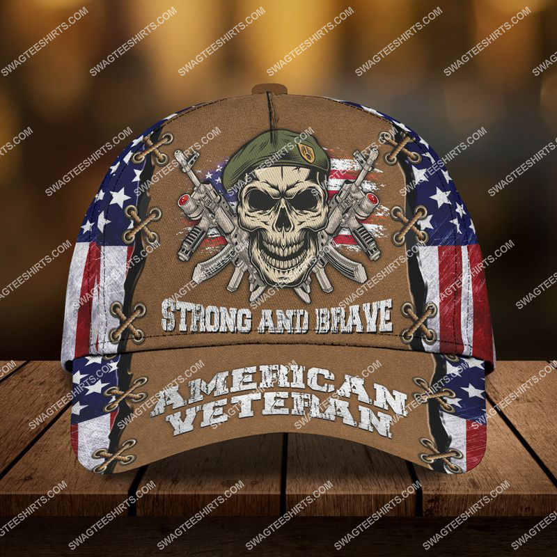 Amazingswagteeshirt]  strong and brave american veteran skull all over printed classic cap