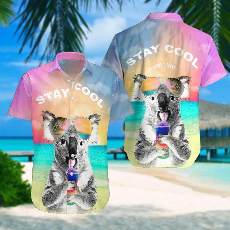 [Amazing swagtshirt] summer time koala stay cool all over print hawaiian shirt