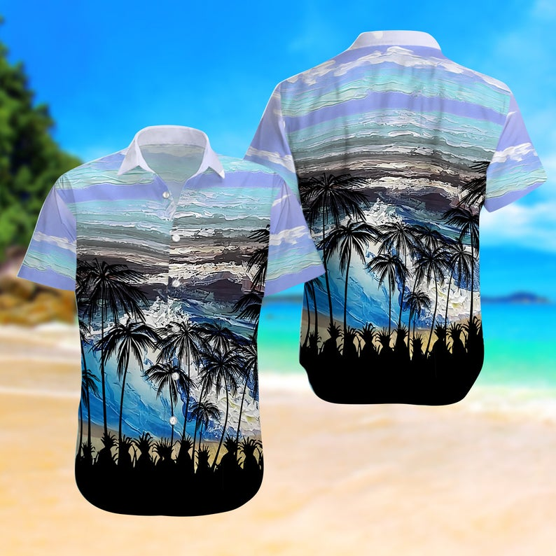 [Amazing swagtshirt] summer time ocean and palm tree all over print hawaiian shirt