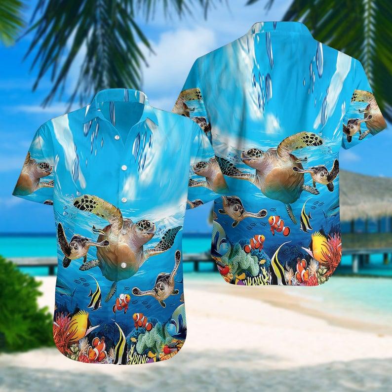 [Amazing swagtshirt] summer time sea turtle all over print hawaiian shirt