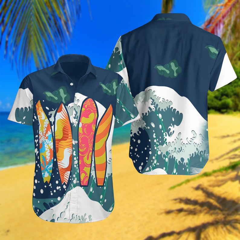 [Amazing swagtshirt] summer time surfing all over print hawaiian shirt