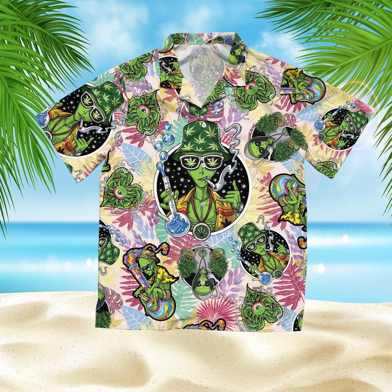 [Amazing swagtshirt] summer time tropical alien cannabis all over print hawaiian shirt