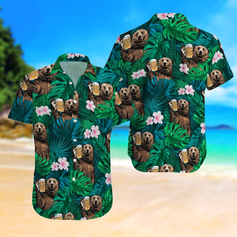 [Amazing swagtshirt] summer time tropical bear and beer all over print hawaiian shirt