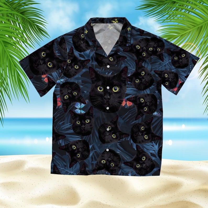 [Amazing swagtshirt] summer time tropical black cat all over print hawaiian shirt