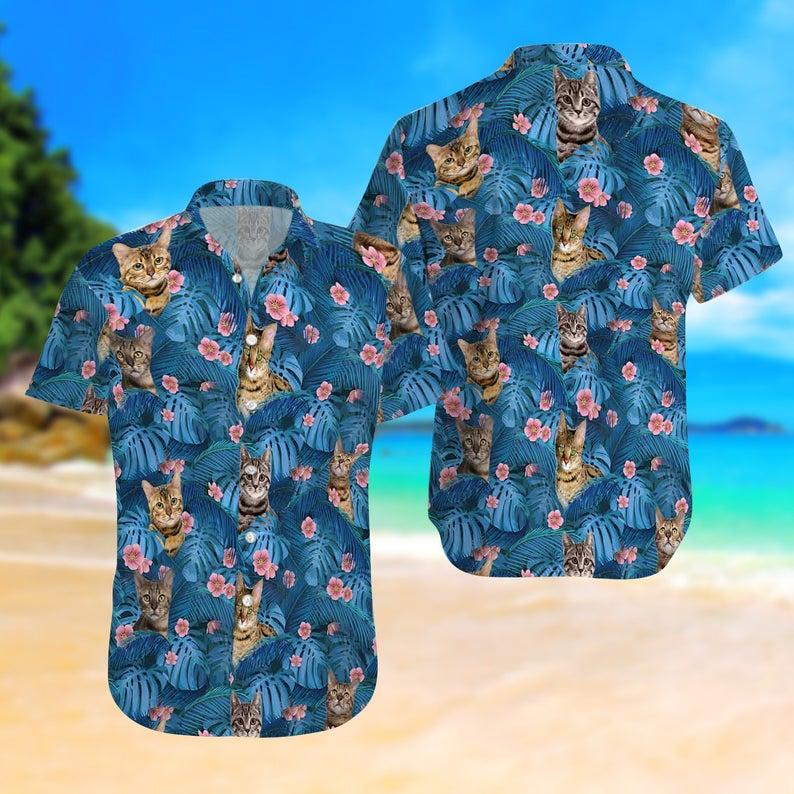 [Amazing swagtshirt] summer time tropical cat all over print hawaiian shirt