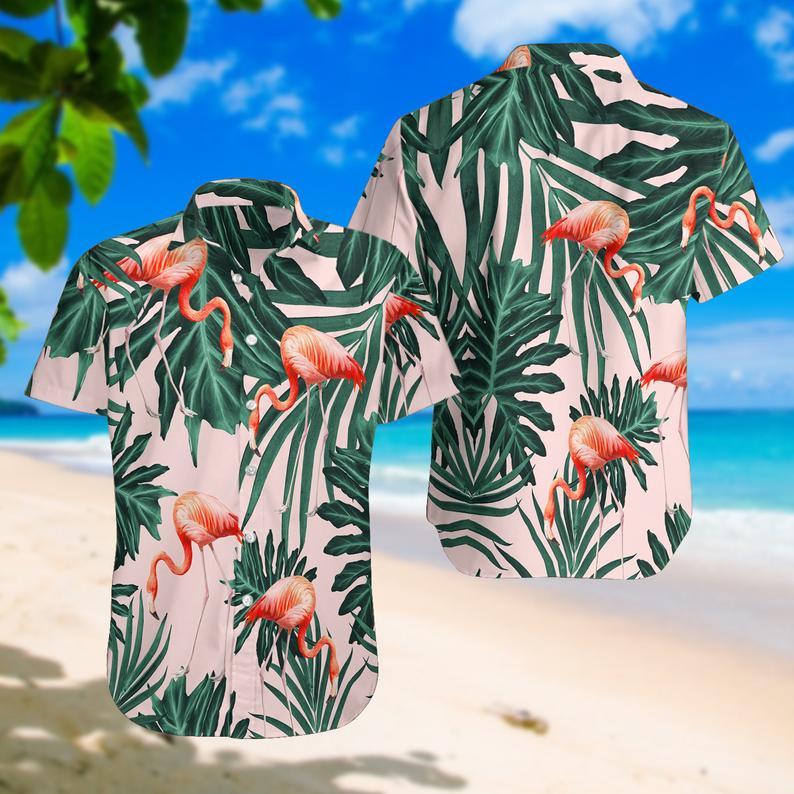 [Amazing swagtshirt] summer time tropical flamingo all over print hawaiian shirt