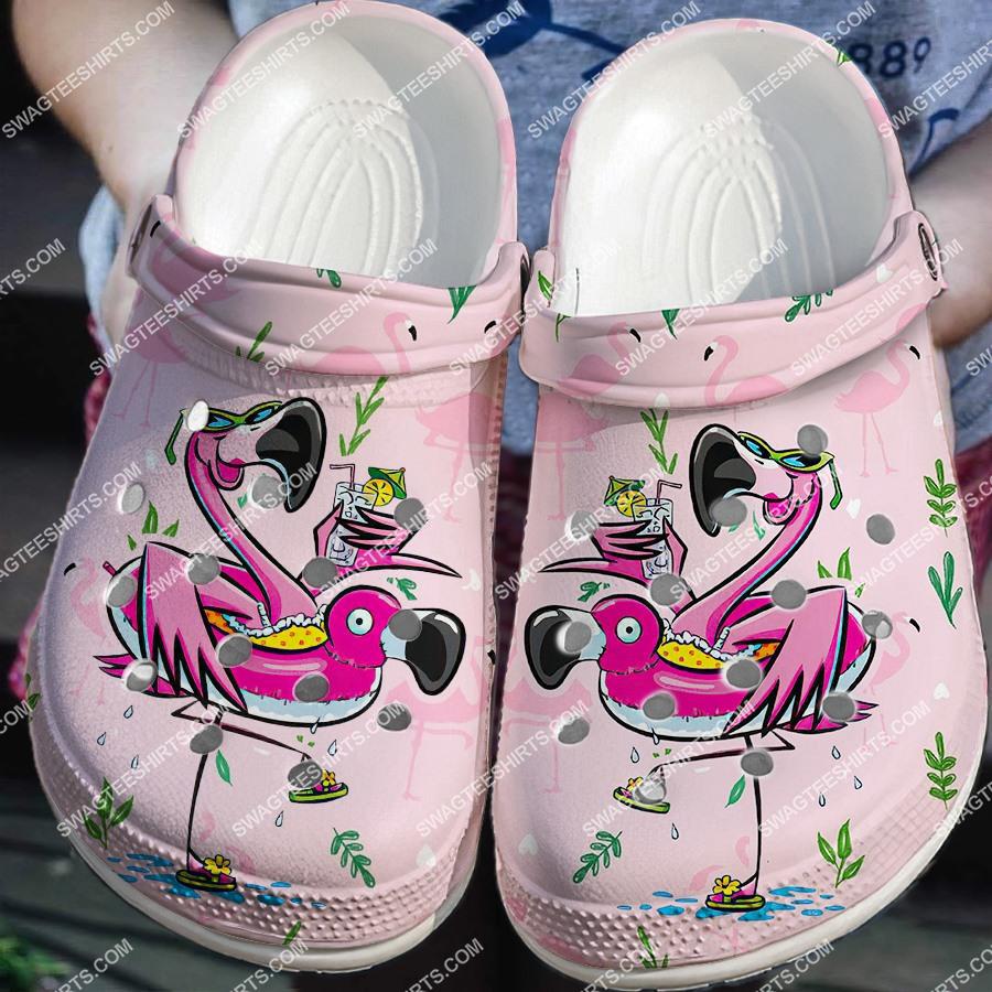 [Amazing fullprintingteeshirt] summer time with flamingo all over printed crocs
