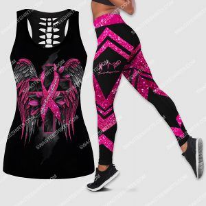 [Amazing owndesignshirt] sunflower cross and wings breast cancer awareness all over printed set sports outfit