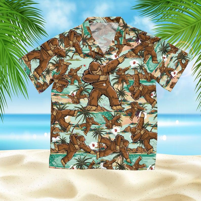 [Amazing swagtshirt] the bigfoot dabbing all over print hawaiian shirt