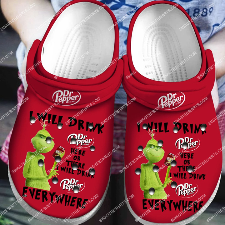 [Amazing swagteeshirt] the grinch i will drink dr pepper all over printed crocs