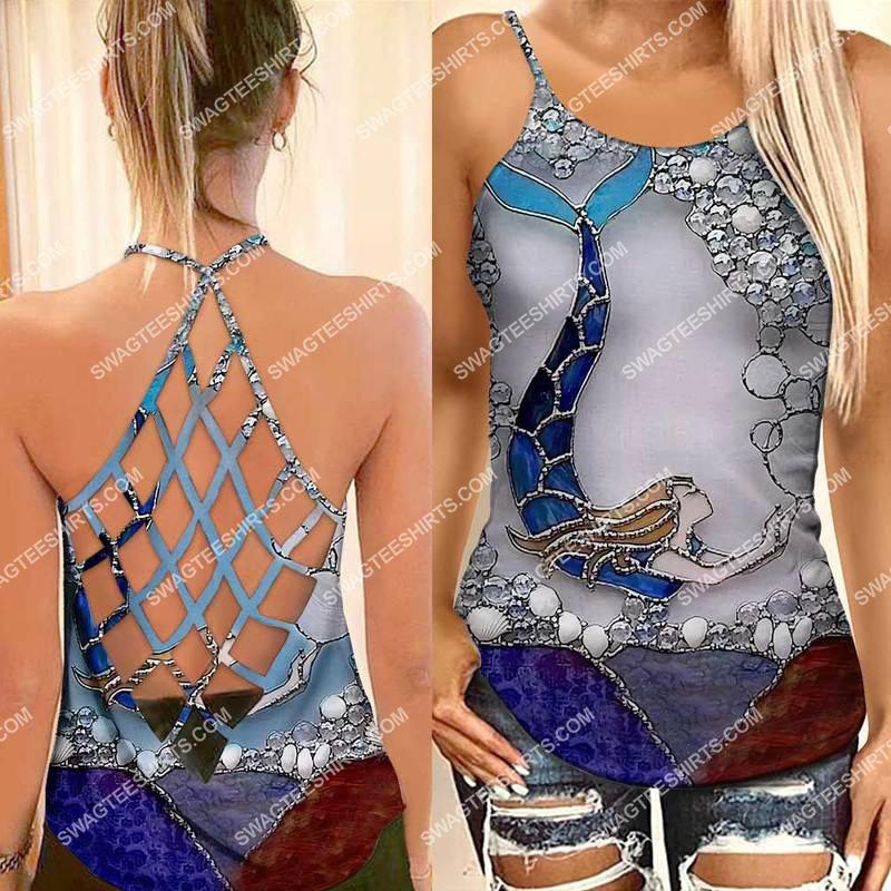 [Amazing fullprintingteeshirt] the little mermaid all over printed strappy back tank top