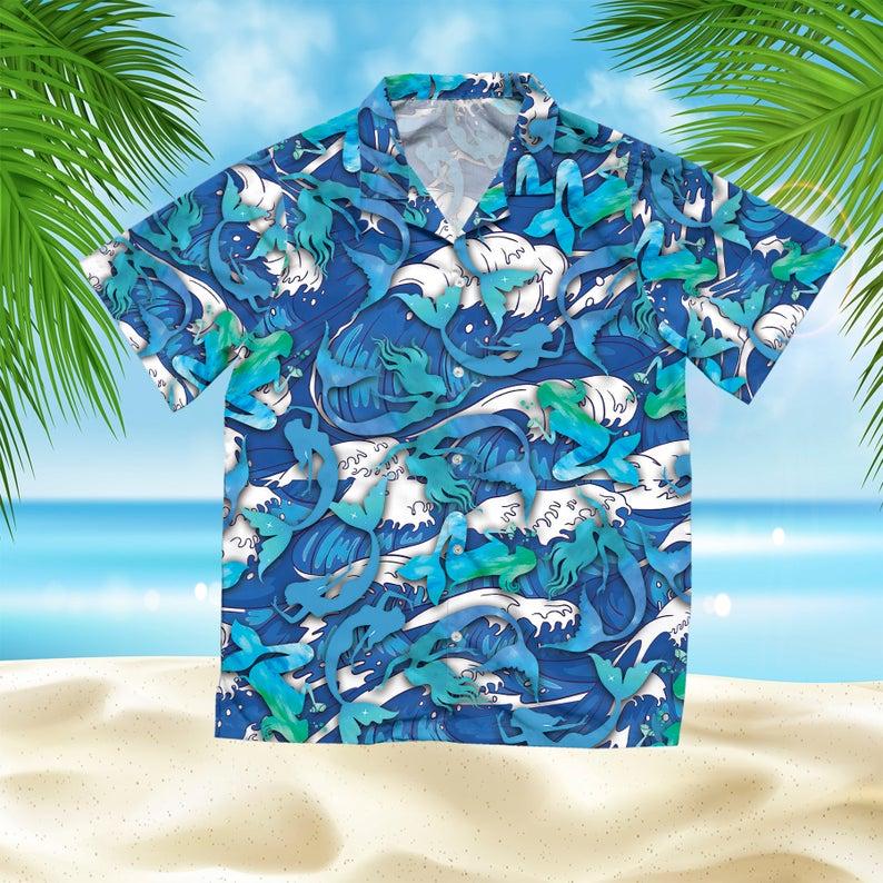 [Amazing swagtshirt] the mermaid summer vacation all over print hawaiian shirt
