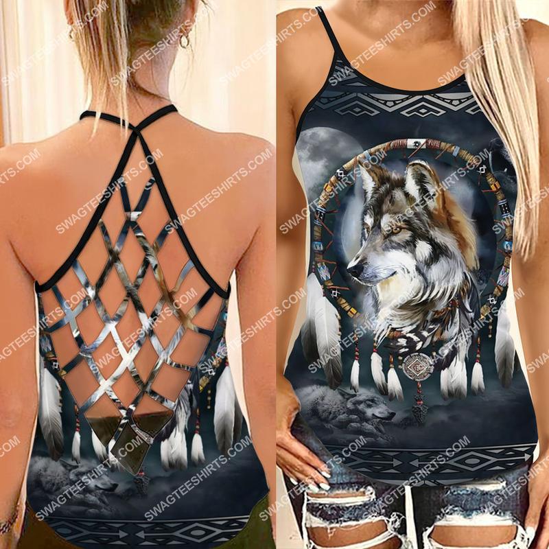 [Amazing fullprintingteeshirt] the native americans wolf and moon strappy back tank top