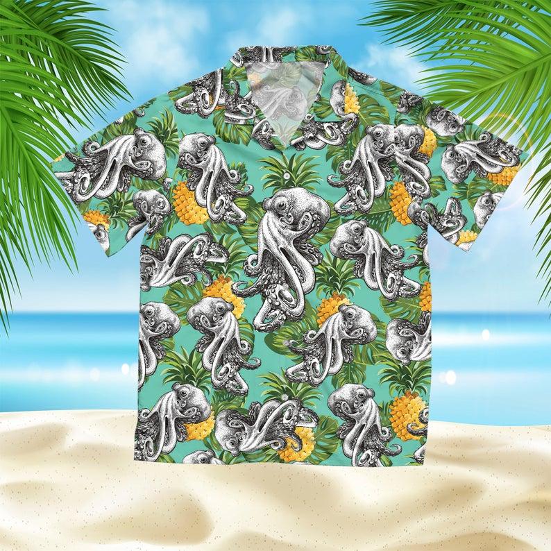[Amazing swagtshirt] the octopus summer vacation all over print hawaiian shirt