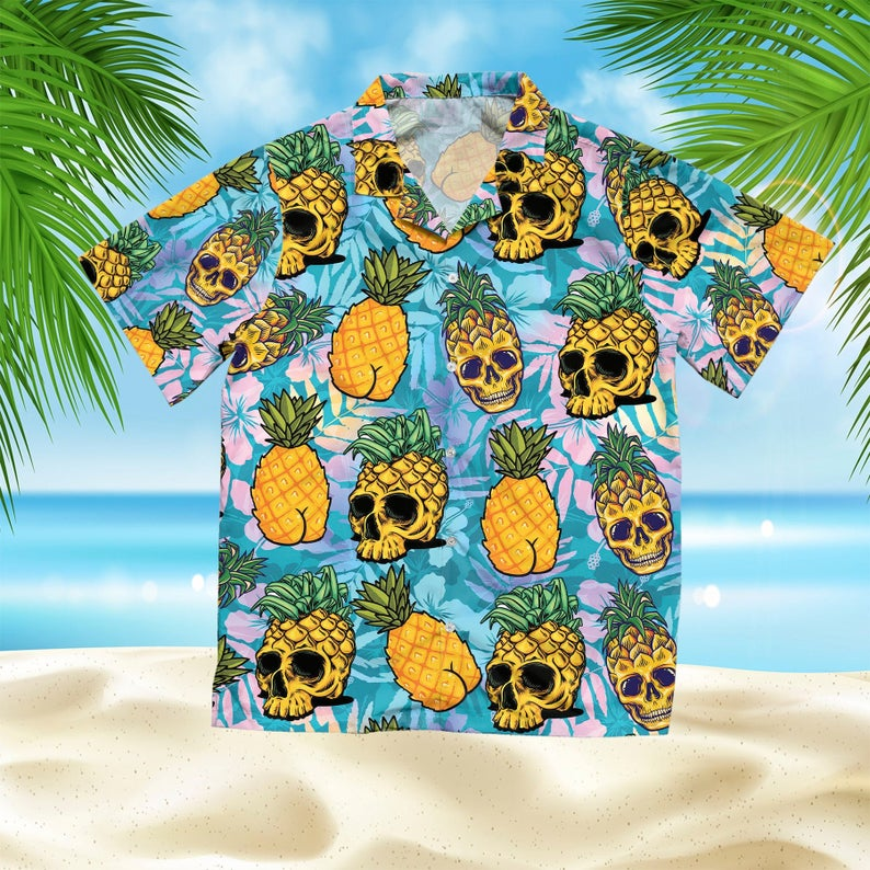 [Amazing swagtshirt] the tropical pineapple skull all over print hawaiian shirt