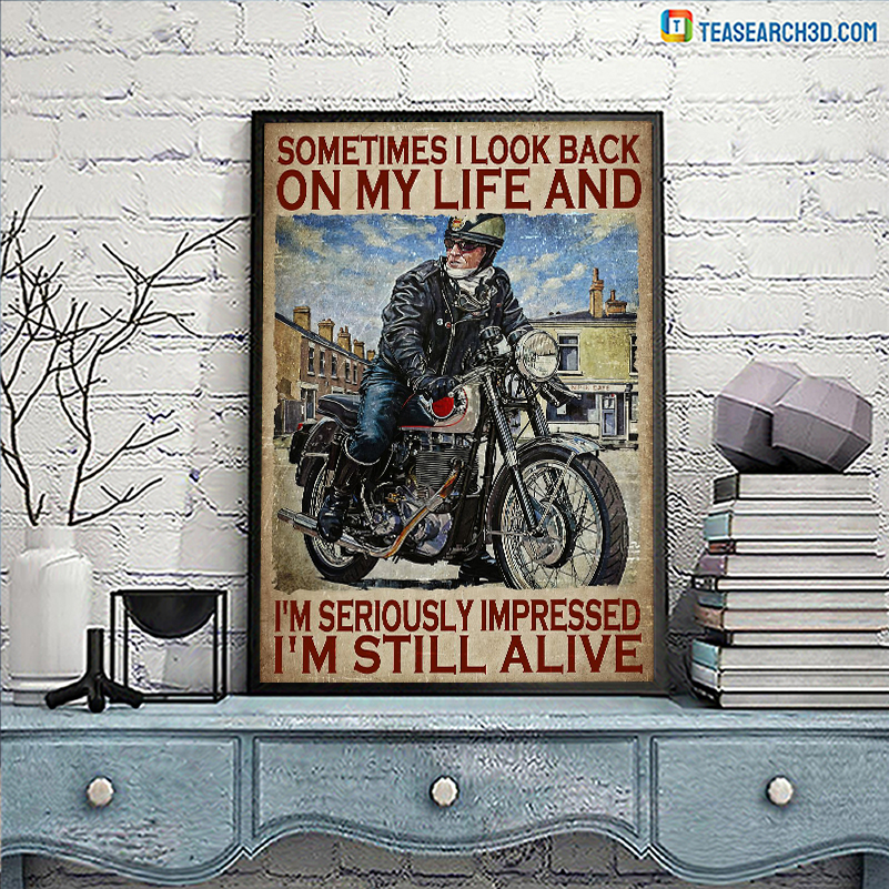 Biker motorcycle sometimes I look back on my life canvas