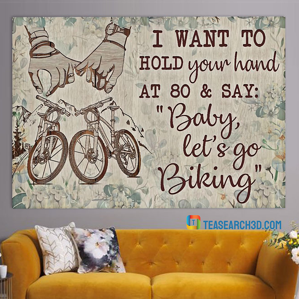 Cycling I want to hold your hand canvas