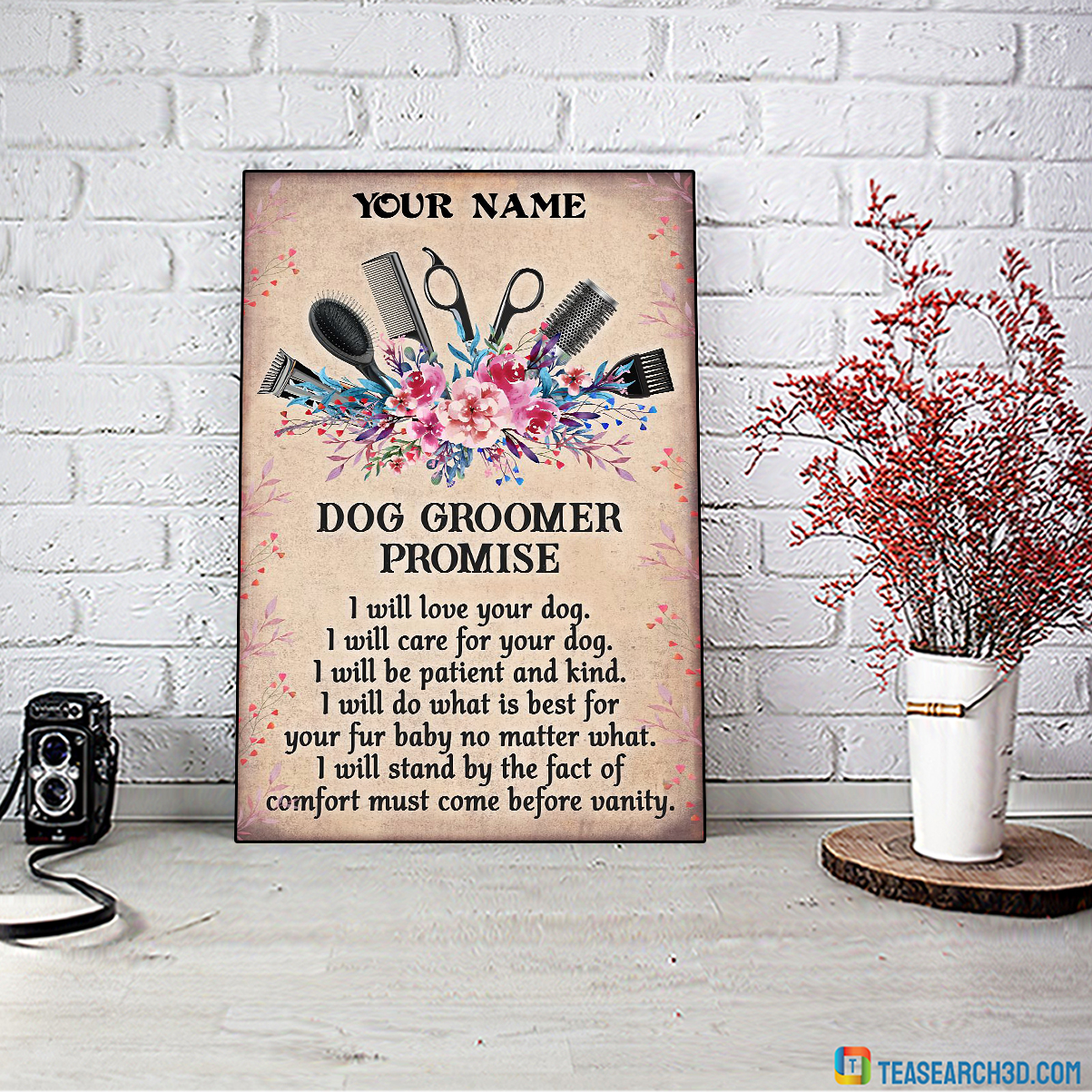 Dog groomer promise I will love your dog personalized custom name poster