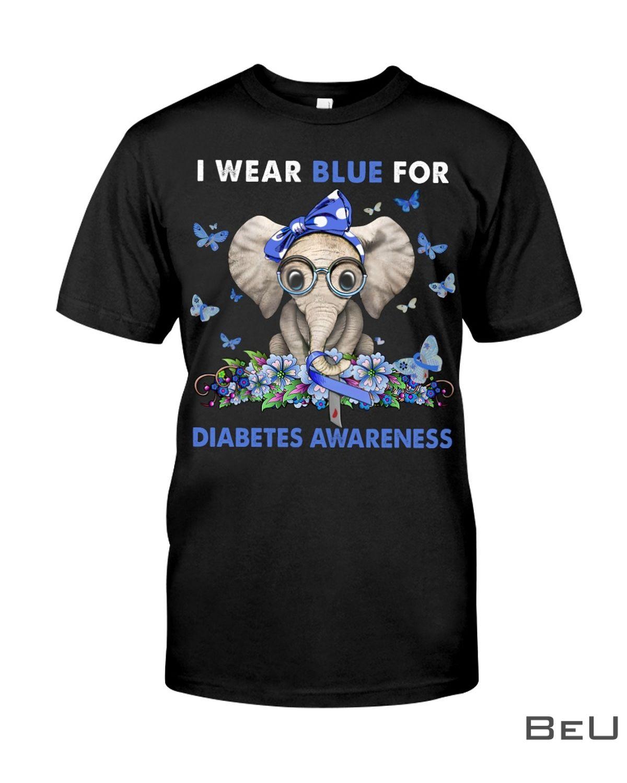 Elephant I Wear Blue For Diabetes Awareness Shirt, hoodie, tank top