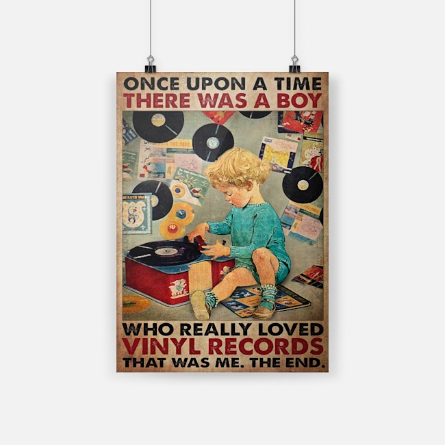 Once upon a time there was a boy who really loved vinyl records canvas
