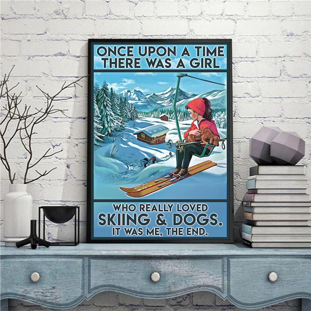 Once upon a time there was a girl who really loved skiing and dogs canvas