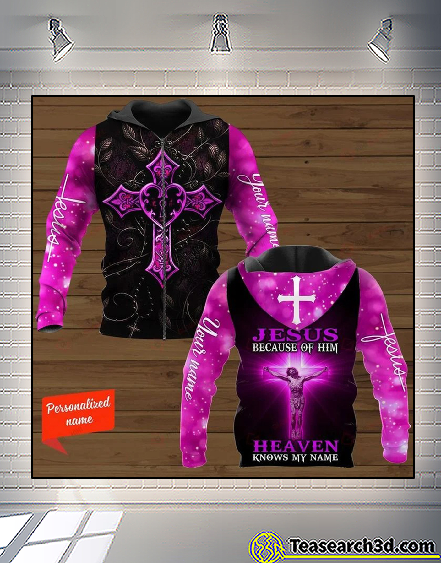 Personalized Cross jesus because of him heaven knows my name 3d all over printed shirt