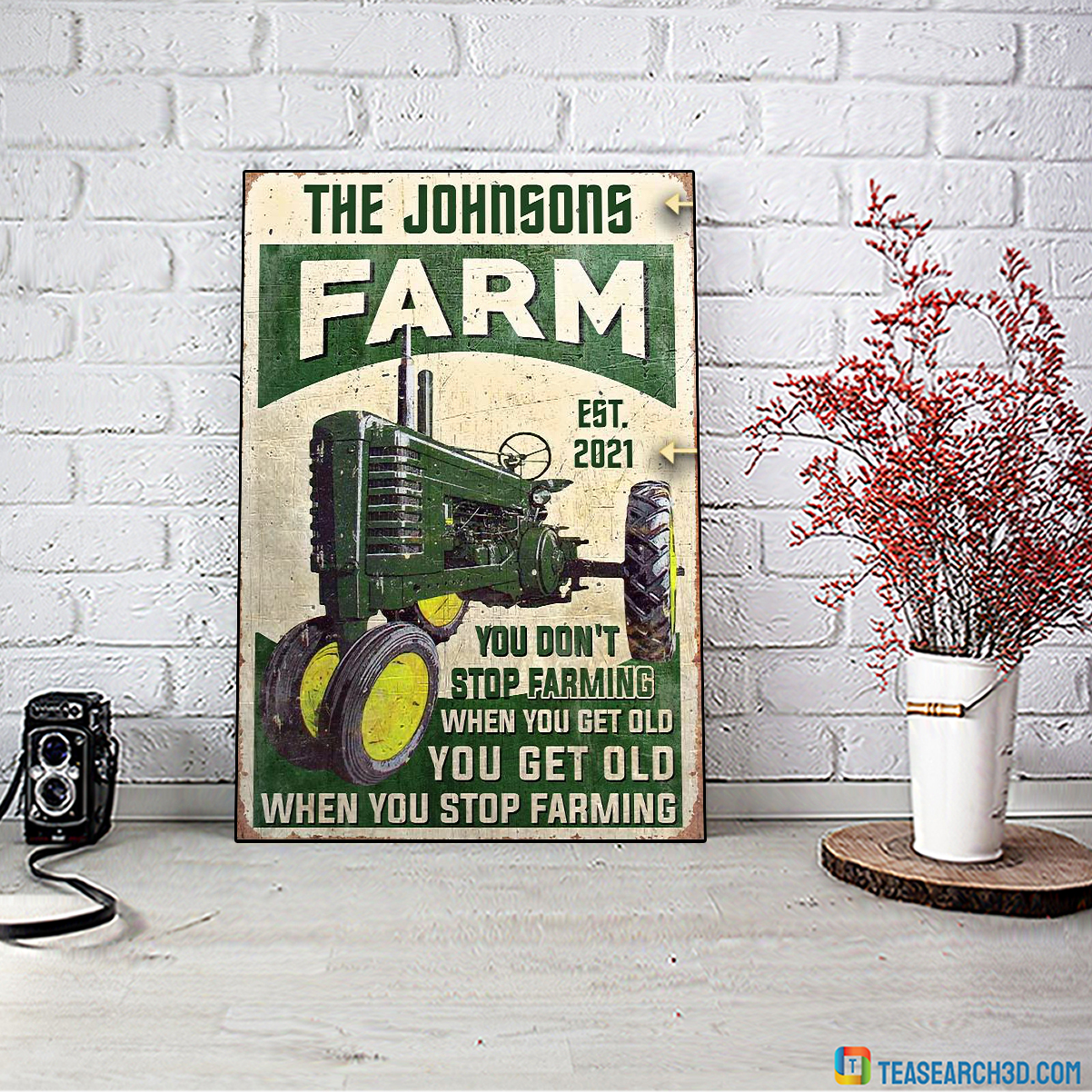 Personalized custom name Farm tractor you don't stop farming when you get old poster