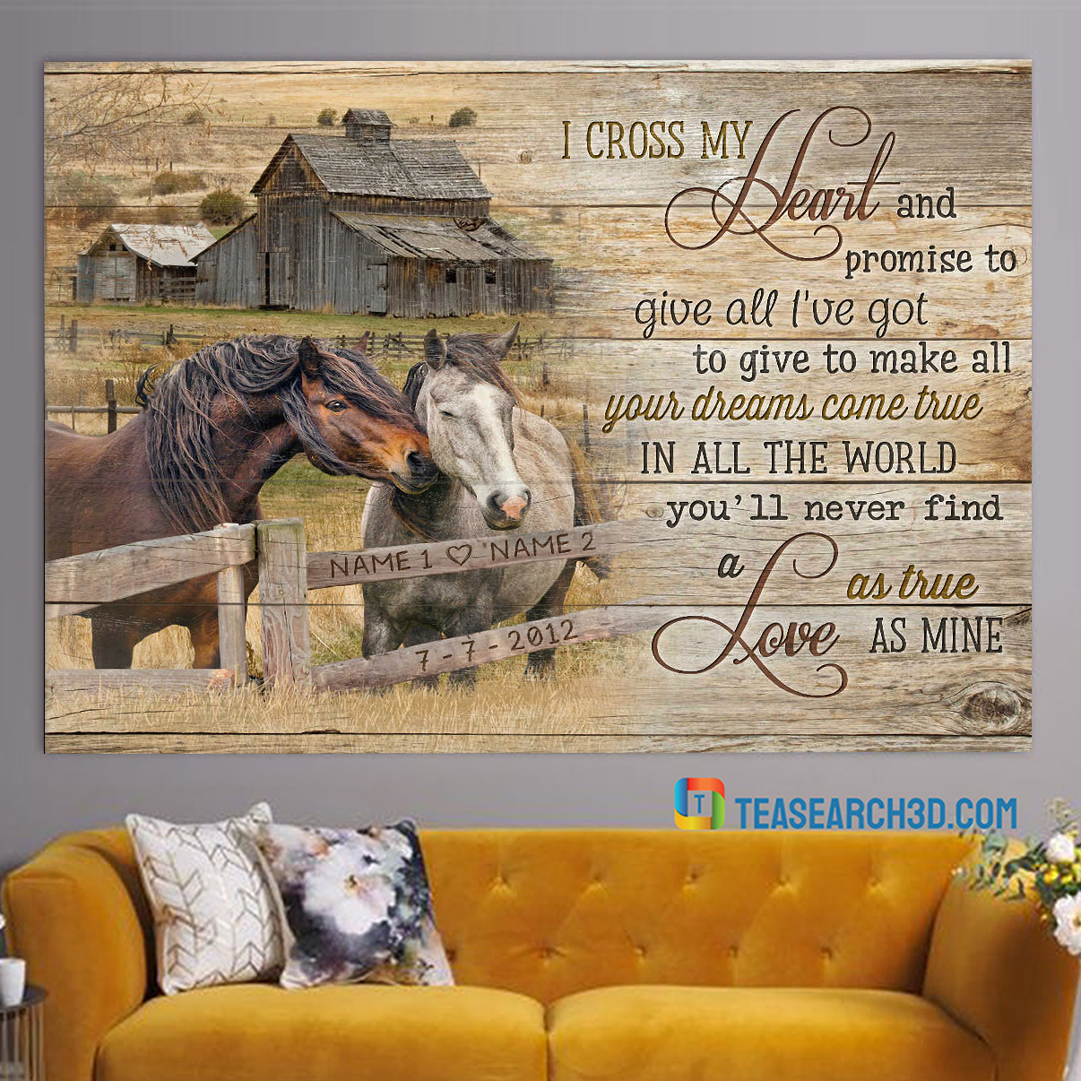 Personalized custom name horses couple and country barn I cross my hear canvas