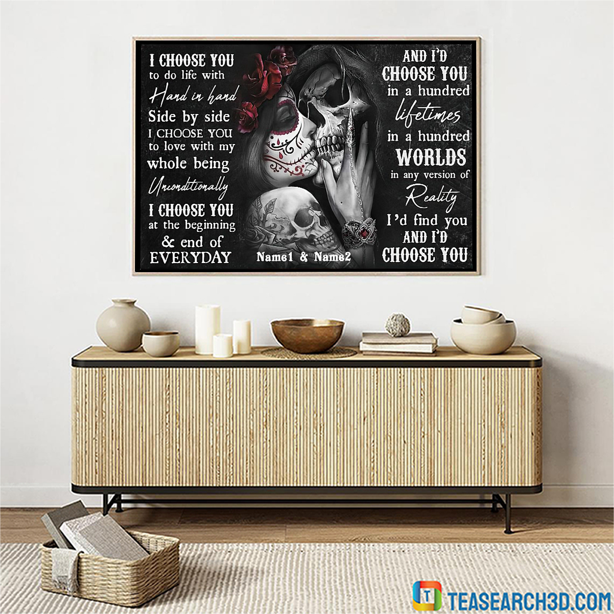 Personalized custom name couple skull couple I choose you to do life poster