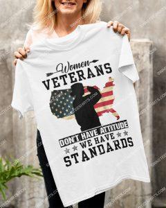 Amazingmariashirts] american flag women veterans don't have attitude we have standards shirt
