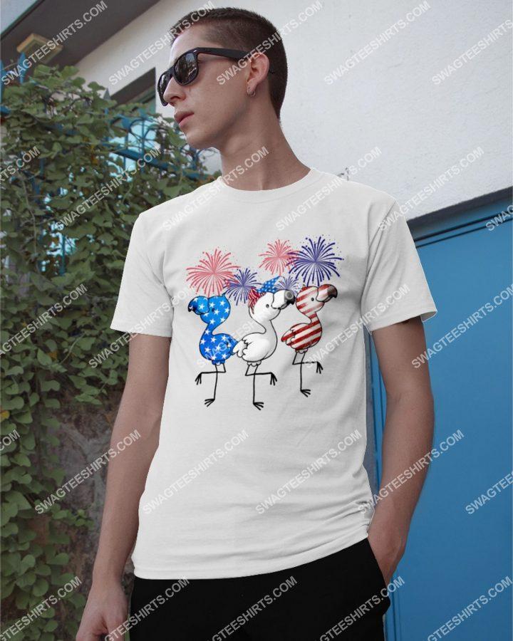 Amazingmariashirts] flamingo fireworks happy independence day shirt