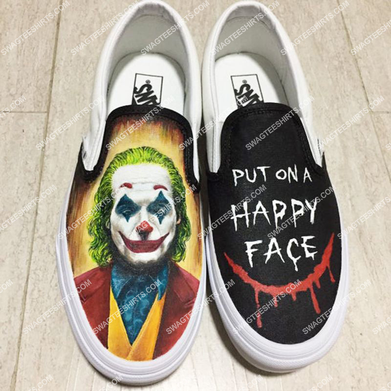 Amazingowndesignshirt] joker put on a happy face all over print slip on shoes