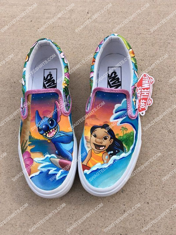 Amazingowndesignshirt] lilo and stitch movie all over print slip on shoes