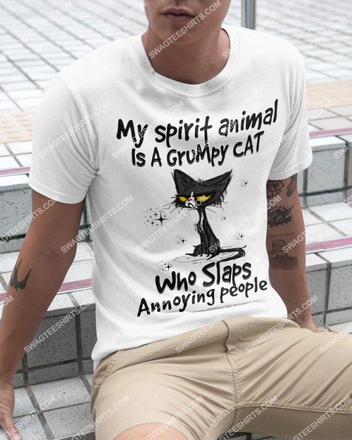 Amazingmariashirts] my spirit animal is a grumpy black cat who slaps annoying people shirt