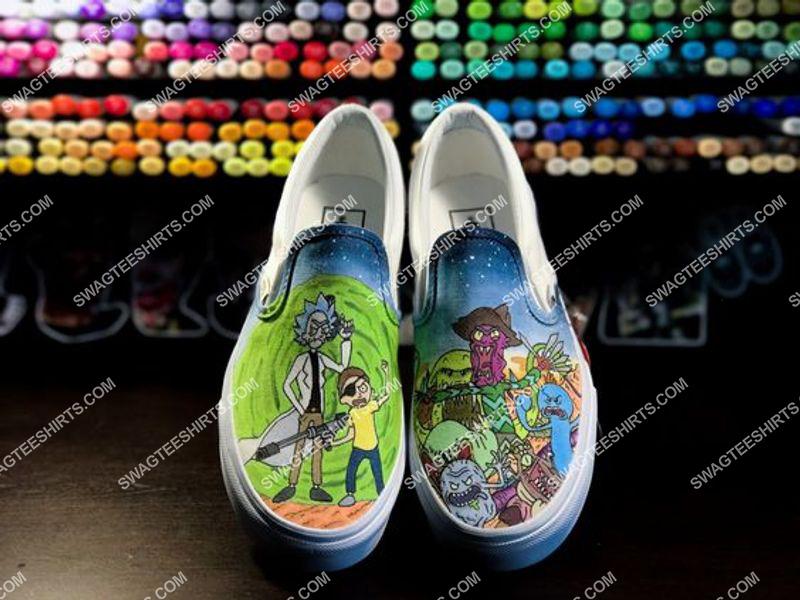 Amazingowndesignshirt] rick and morty movie slip on shoes