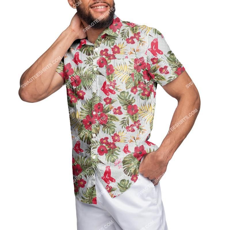 Amazingowndesignshirt] tropical boston red sox floral full print hawaiian shirt